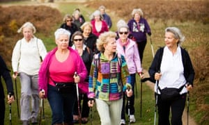 Walking group: older people today are more active than previous generations