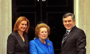 Gordon Brown and his wife Sarah welcoming Lady Thatcher to Downing Street in 2009.