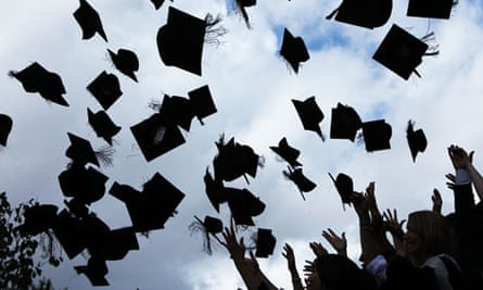 Mortarboards thrown in the air