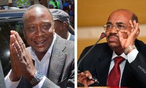 Uhuru Kenyatta, left, and Omar al-Bashir