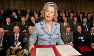 Meryl Streep playing Margaret Thatcher in Iron Lady.