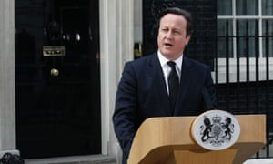 David Cameron making a statement about the death of Lady Thatcher outside Downing Street.