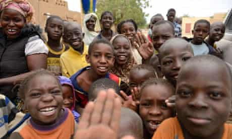 Children celebrate in Diafouke as Malian