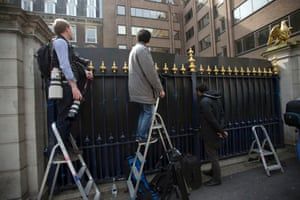 Members of the media gather outside the Ritz hotel where it is reported that former Prime Minister Margaret Thatcher had died, in London. Flags were flown at half-mast at Buckingham Palace, Parliament and Downing Street for the 87 year old. Photograph: Matt Dunham/AP