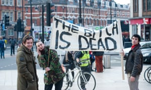 People gather at a street party for the death of Margaret Thatcher in Brixton.