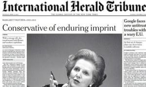 IHT front page on Margaret Thatcher