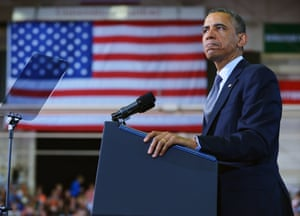 US President Barack Obama pauses as he speaks on gun control at the University of Hartford, in Hartford, Connecticut.
