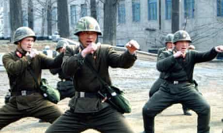 North Korean soldiers in a propaganda picture.