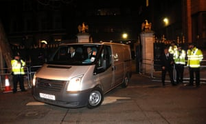 A mortuary van departs the Ritz Hotel with the body of former British Prime Minister Margaret Thatcher on April 8, 2013 in London, England.