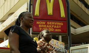 Women leaving McDonald's
