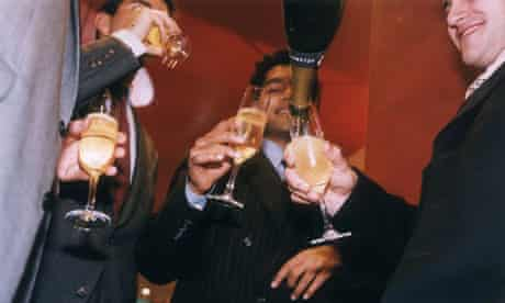 City workers drink champagne