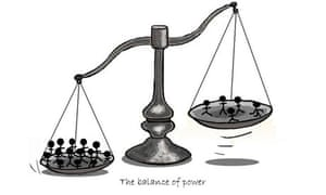 Cartoon illustrating the statistical 'balance of power' of studies