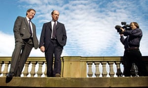 CEO James Crosby (R) and his deputy Peter Burt (L) at the Halifax and Bank of Scotland merger launch