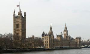 Union flag flies at half-mast over Houses of Parliament after announcement of Lady Thatcher's death