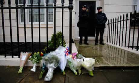 Flowers left outside the former home of Margaret Thatcher in Belgravia