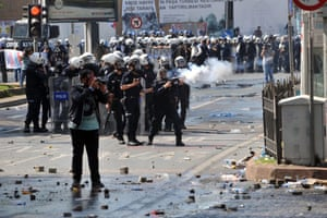 Riot police fire tear gas during clashes at a May Day demonstration on May 1, 2013, in Istanbul.