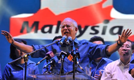Malaysia's prime minister, Najib Razak, in Penang during his election campaign