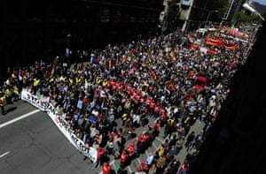 Demonstrators take part a Labour Day march against the Spanish government's austerity policies in the centre of Barcelona on May 1, 2013.