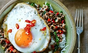 Stir-fried minced beef with chillies and holy basil: David Thompson