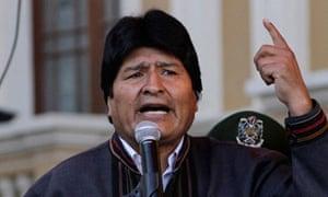 Bolivia's President Evo Morales speaks during May Day celebrations at Murillo square in La Paz