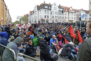 Left-wing demonstrators block the demonstration route of a far-right May Day rally in Erfurt, Germany, Wednesday, May 1, 2013.