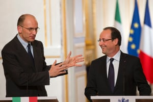 French President Francois Hollande, right, listens to Italy's Prime Minister Enrico Letta during a press conference at the Elysee Palace in Paris,  Wednesday, May 1, 2013.