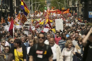 Thousands gather in the center of Barcelona for the unions rally celebrating May Day.
