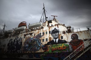 24 hours in picture: The Duke Of Lancaster ship, in Wales, covered in graffiti