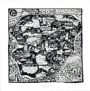 handdrawnmaps: Dartmoor, handdrawn map by Caroline Harper