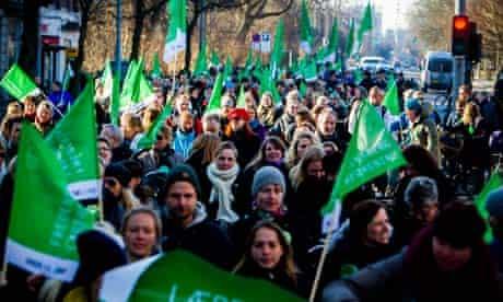 Demonstrators in Copenhagen against the lockout of all teachers in Denmark schools