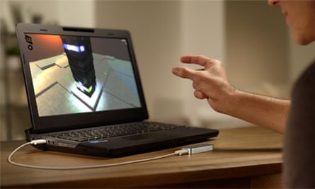 UltraHaptics could be used to create an invisible md-air feedback layer for interaction with motion-tracking sensors such as the Leap Motion.