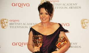 Olivia Colman with two TV Baftas