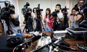 Transgender woman speaks to Hong Kong media