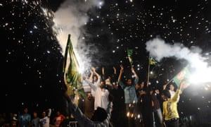 Supporters of former Pakistani prime minister Nawaz Sharif on sparkling form as they celebrate victory in the general election in Lahore. Sharif was in talks today to form a new government. The US president, Barack Obama, welcomed the 'historic, peaceful and transparent transfer of civilian power'.