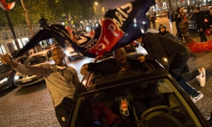 Excited fans celebrated on the Champs Elysee in Paris last night after Paris Saint-Germain (PSG) defeated Lyon to win the French football title. PSG won their first French title since 1994 with a 1-0 success at Lyon.