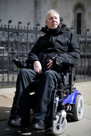 Paul Lamb arrives at the Royal Courts of Justice in London for the first day of a three-day hearing on legalising the right to die with the aid of a doctor. Lamb, who is paralysed from the neck down, is continuing the legal battle started by the late Tony Nicklinson, who suffered from locked in syndrome.