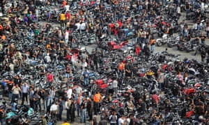 I know I left it here somewhere … bikers descend on Mexico City to commemorate the 110th anniversary of Harley Davidson motorcycles.