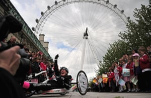 Our congratulations to Claire Lomas on completing a 400-mile hand cycle journey. Claire, who is paraplegic, finished the London Marathon in 17 days in a bionic suit last year and here she is at the end of a three-week journey from Nottingham Trent University.