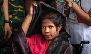 Reshma Begum, the 19-year-old garment worker who spent 17 days trapped in the rubble of a collapsed factory building prepares to meet the media at a hospital in Savar in Bangladesh. Following her miraculous rescue she has said that she will never again work in a Bangladesh garment factory.