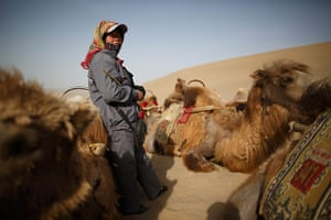 Crescent lake in China: Guide waiting with camels