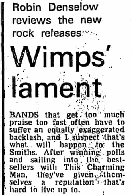 Guardian review of The Smiths album, 23 February 1984
