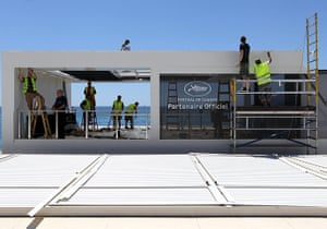 Cannes preparation : Workers prepare the private Cannes Film Festival beach