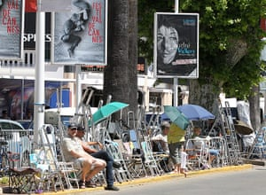 Cannes preparation : Chairs and stepladders are set up for eyeing the stars opposite the Palais