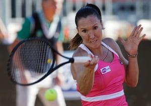 Jelena Jankovic of Serbia returns the ball to Tsvetana Pironkova of Bulgaria during their match at the Italian Open tennis tournament in Rome, Italy.