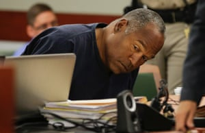 O.J. Simpson looks around the courtroom during a break in his evidentiary hearing in Clark County District Court in Las Vegas, Nevada. Simpson appeared in a Las Vegas court seeking a new trial on his conviction on a Nevada armed robbery charge. Photograph: Pool/Reuters
