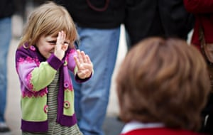 Another scary politician: Taylor Abramson, 5, reacts while meeting British Columbia Premier and Liberal leader Christy Clark (R) during a campaign for the provincial elections in Ladner, British Columbia. Photograph: Andy Clark/Reuters