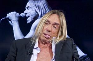 "American singer Iggy Pop grimaces while participating in ""El Hormiguero"" Tv show at Vertice Studio in Madrid, Spain."
