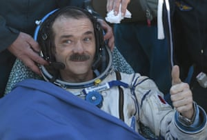 And here's Canadian spaceman, photographer and sometime singer Chris Hadfield giving a thumbs up shortly after the landing.