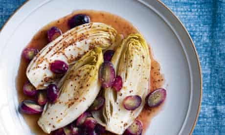 Chicory with grapes, honey and mustard.