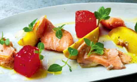 Peach, watermelon and basil salad with salmon confit